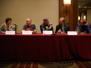 (L-R) Irene Gallo, Chris Roberts, Les Edwards, Michael Whelan, and moderator at World Fantasy Convention 2014.